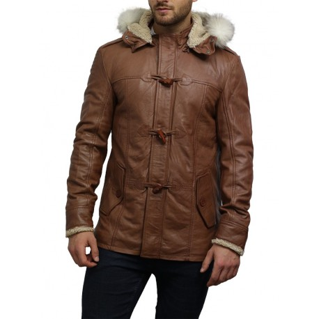 Men's Genuine Sheepskin Leather Biker Jacket Long Coat