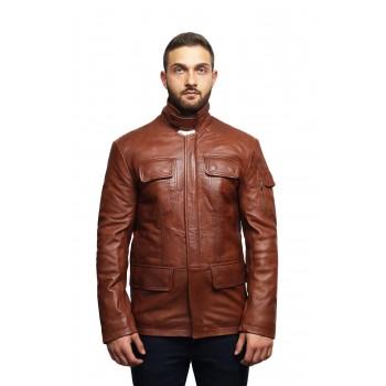Vintage  Men's Tan Real Lambskin Trench Safari Coat Washed Leather Jacket