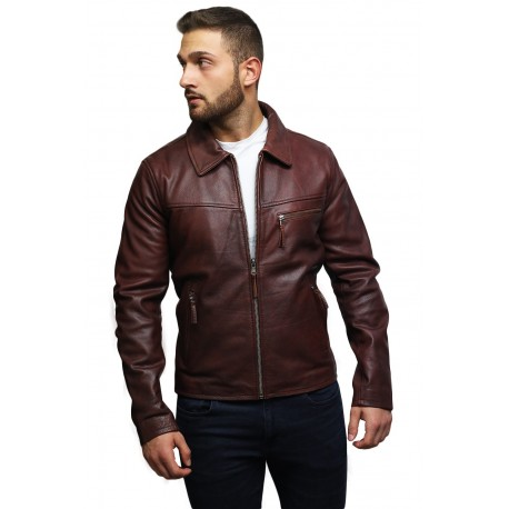 Men's Leather Biker Jacket Genuine Cow Hide Brando Vintage Rustic