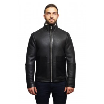 Men's Real Shearling Sheepskin Leather Bomber Flying Jacket