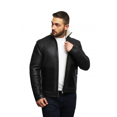 Men's Real Shearling Sheepskin Leather Bomber Flying Jacket