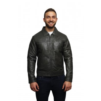 Men's Leather Biker Jacket Harrington Casual Slim Fit