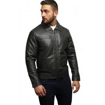 Men's Leather Biker Jacket Harrington Casual Slim Fit