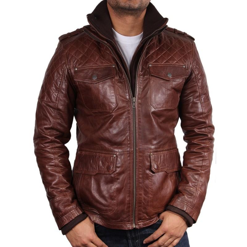 Men's Brown Leather Biker Jacket