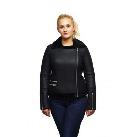 Womens Genuine Sheepskin Cross Zip Leather Aviator Vintage Flying Bomber Jacket