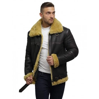 Men's Real Shearling Sheepskin Leather Jacket Aviator Bomber Flying Pilot