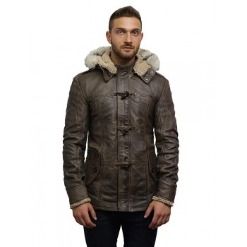 Men's Genuine Sheepskin Leather Jacket Waxed Hooded Bomber Coat