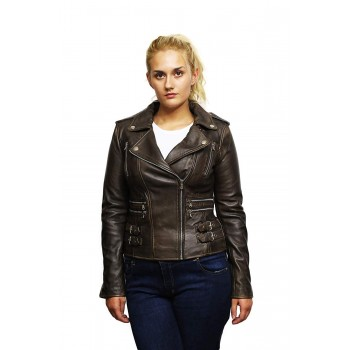 Women's Genuine Leather Biker Jacket Fitted Brando Vintage Rock