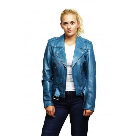 Womens Genuine leather Biker Jacket Casual Brando