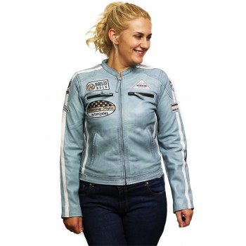 Womens Genuine Sheepskin Leather Biker Jacket