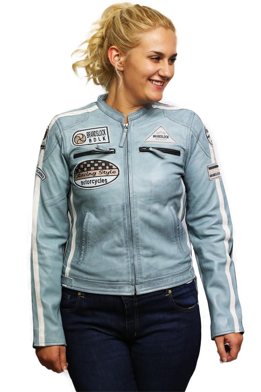 Brandslock Womens Genuine Sheepskin leather Biker Jacket