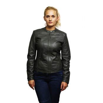 Womens Genuine Lambskin Leather Biker Jacket Distressed