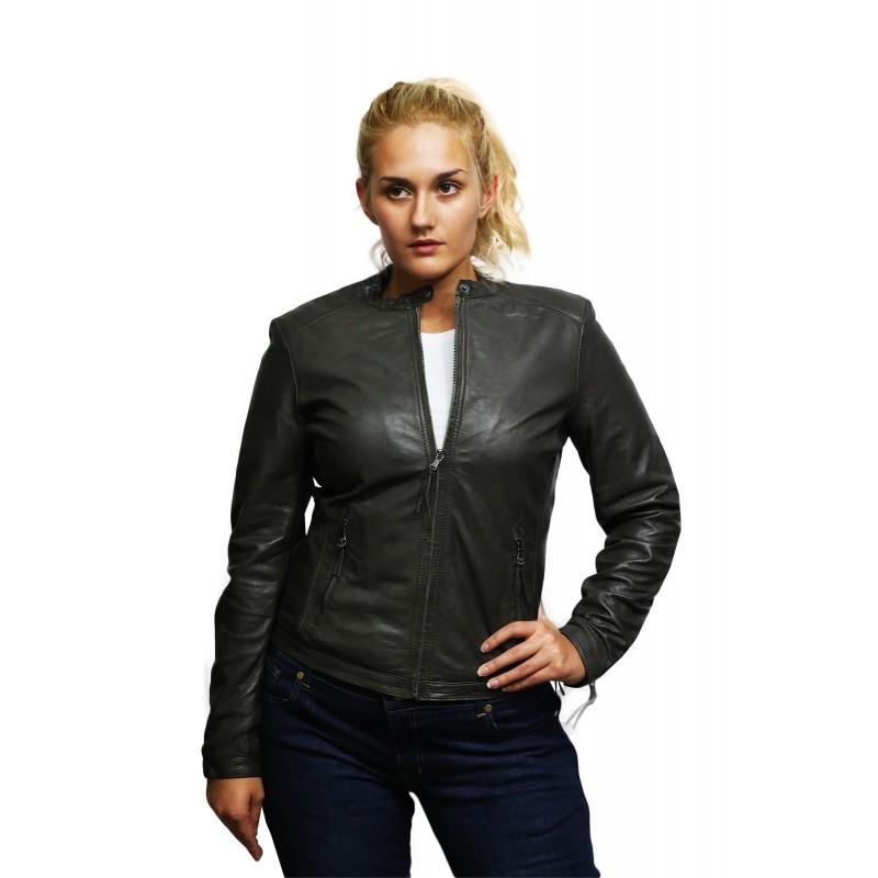 Brandslock Ladies Genuine Leather  Biker Jacket Waxed Lambskin