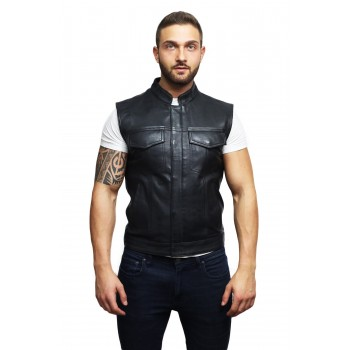 Mens Genuine Leather Waist Coat Smart Casual Cowboy Style - Black