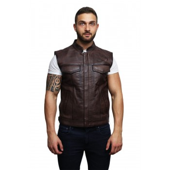 Mens Genuine Leather Waist Coat Smart Casual Cowboy Style - Brown