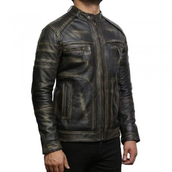Men's Genuine Leather Biker Jacket Vintage - Black