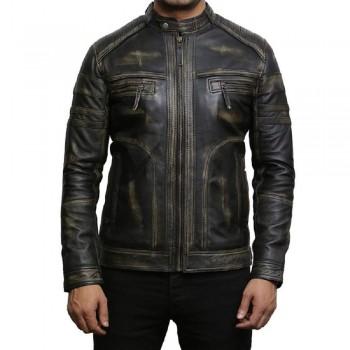 Men's Genuine Leather Biker Jacket Vintage - Black