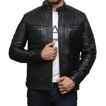 Men's Genuine Leather Biker Jacket Vintage - Plain Black