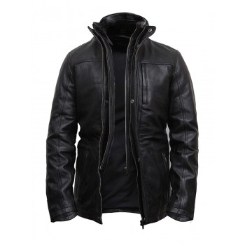 Mens Genuine Leather Biker Parka Jacket Retro - Black