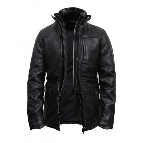Mens Genuine Leather Biker Parka Jacket Retro - Black