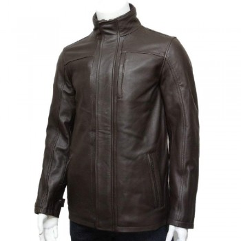 Mens Genuine Leather Biker Parka Jacket Retro - Brown