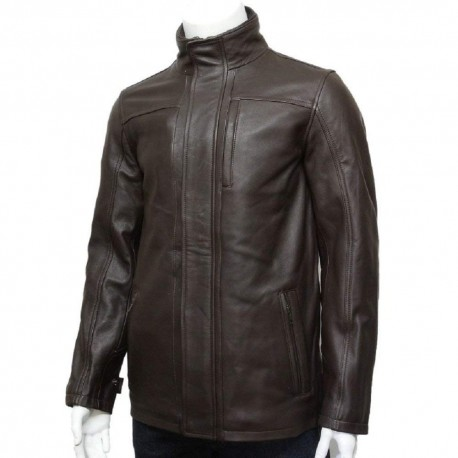 Mens Genuine Leather Biker Parka Jacket Retro - Brown