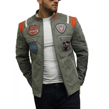 Men's Genuine Sheepskin Leather Biker Jacket with Badges