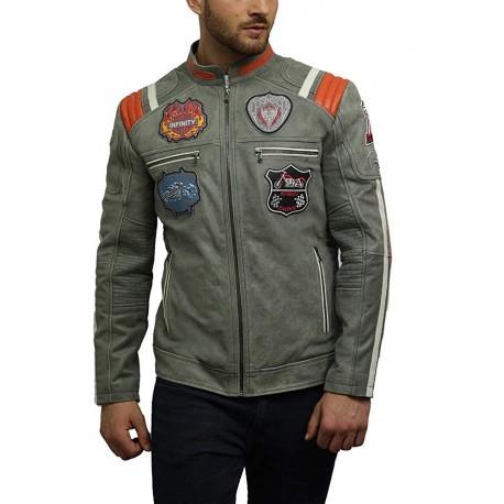 Men's Genuine Sheepskin Leather Biker Jacket with Badges