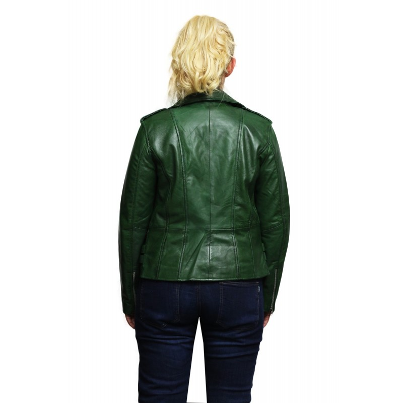 6d4ca2a11005 Brandslock Womens Genuine Leather Biker Jacket Fitted Vintage Rock
