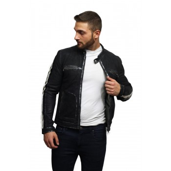 Men's Classic Black Distressed Real Leather Biker Jacket