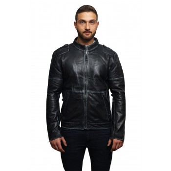 Mens Genuine Leather Biker Jacket Vintage