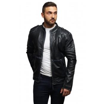 Mens Genuine Leather Biker Jacket Vintage