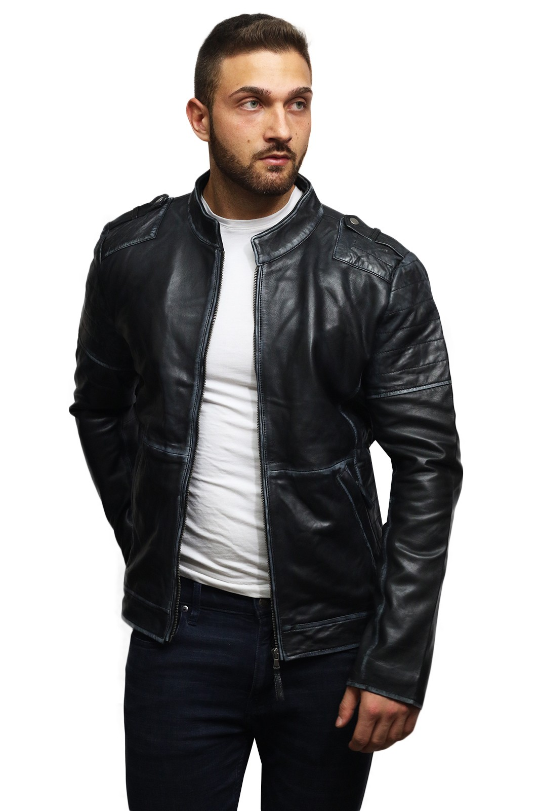 Brandslock Men Genuine Leather Biker jacket Vintage