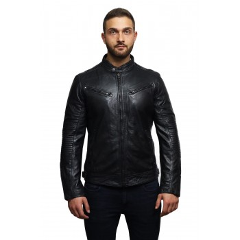 Men's Genuine Leather Biker Jacket Distressed