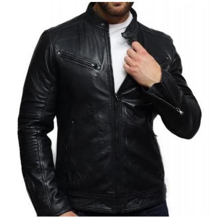 Men's Genuine Leather Biker Jacket Distressed - Black