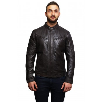 Men's Genuine Leather Biker Jacket Distressed - Brown
