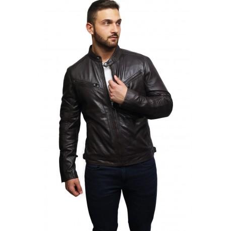 Men's Genuine Leather Biker Jacket Distressed - Brown