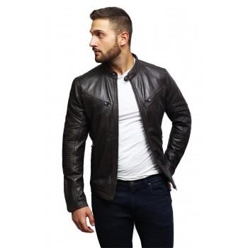Men's ClassicnBrown Distressed Real Leather Biker Jacket