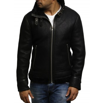 Men's Aviator Black B3 World War2 Real Shearling Sheepskin Flying Jacket -Felix