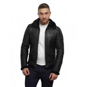 Men's Black sheepskin flying jacket - Irish