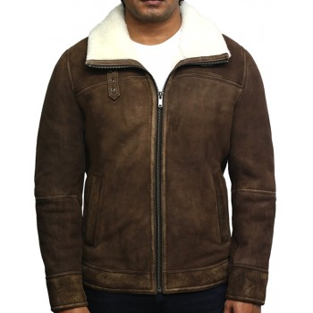 Men's Genuine Shearling Sheepskin Spanish Merino Leather Jacket Vintage