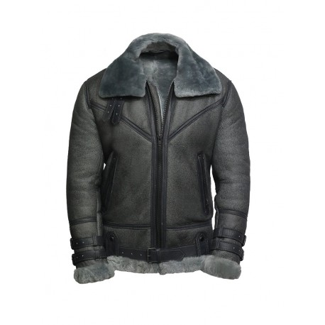 ca1a42f9292 Men s Genuine Shearling Sheepskin Leather Pilot Aviator B3 WWII Bomber  Flying Cockpit Jacket