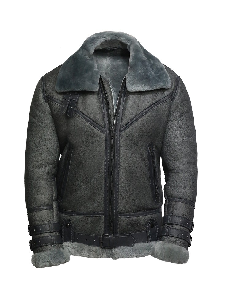 b5797460a Men Genuine Shearling Sheepskin Spanish Merino Leather Jacket Vintage