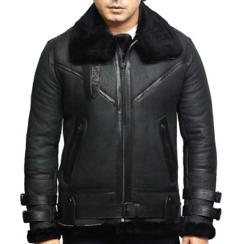 Men's Genuine Shearling Sheepskin Leather Pilot Aviator B3 WWII Bomber Flying Cockpit Jacket