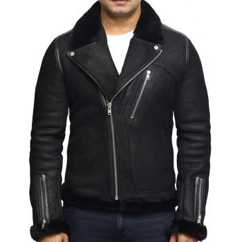 Men's Genuine Shearling Sheepskin Leather Jacket Brando Style