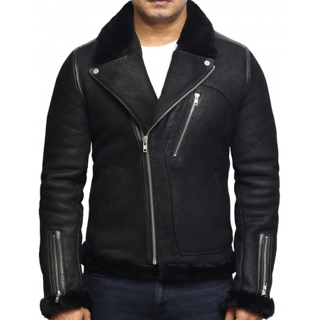 Men's Genuine Shearling Sheepskin Leather Jacket Brando