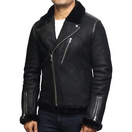 Men's Genuine Shearling Sheepskin Leather Jacket Brando
