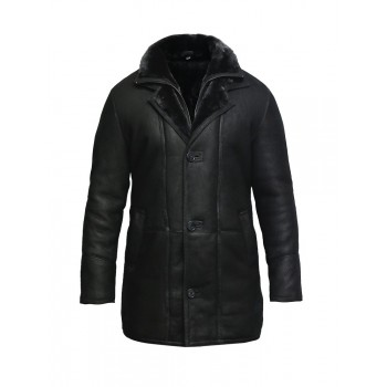 Men's Genuine Shearling Sheepskin Leather Coat Merino Wool.