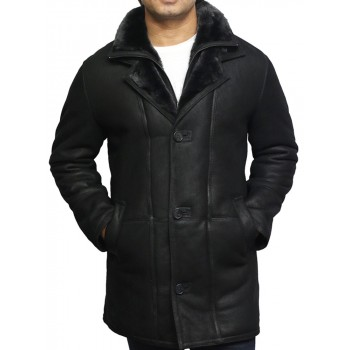 Men's Genuine Shearling Sheepskin Leather Coat Merino Wool - Yaqab