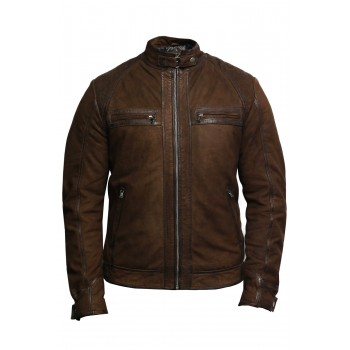 Men's Genuine Leather Biker Jacket Suede